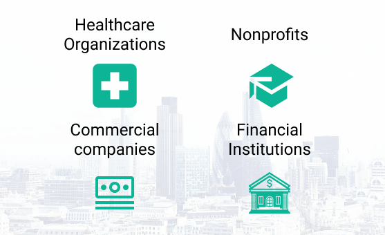 Virtal boardroom use cases: 1. Board portal for healthcare organizations. 2. Board portal for nonprofits. 3. Board portal for commercial companies. 4. Board portal for financial institutions.
